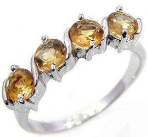 1.60ctw Genuine Citrine Solid 925 Sterling Silver Gemstone Ring (SJR10106)