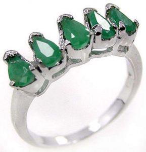 1.75ctw Genuine Emerald Solid 925 Sterling Silver Gemstone Ring (SJR10110)