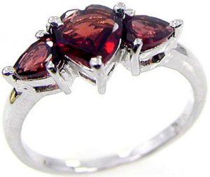 1.70ctw Genuine Garnet Solid 925 Sterling Silver Gemstone Ring (SJR10111)