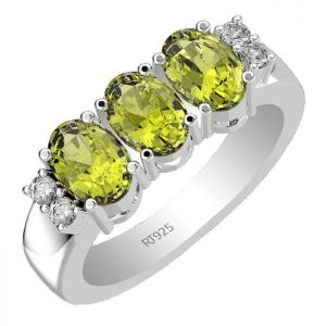 2.70ctw Genuine Peridot Solid 925 Sterling Silver Gemstone Ring (SJR10113)
