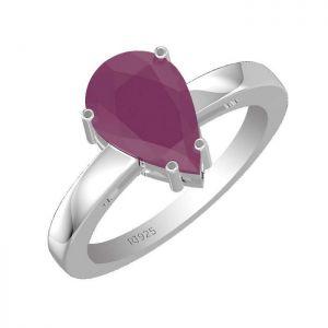 3.50ctw Genuine Ruby Solid 925 Sterling Silver Gemstone Ring (SJR10115)