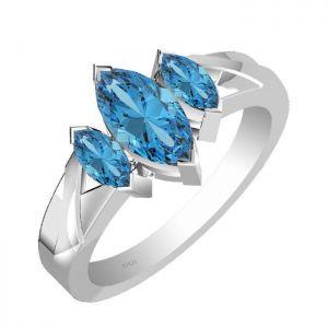 1.95ctw Genuine Swiss Blue Topaz Solid 925 Sterling Silver Gemstone Ring (SJR10122)