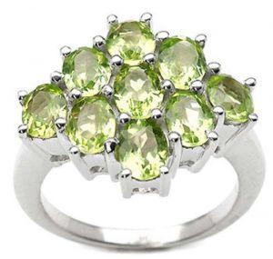 3.15ctw Genuine Peridot Solid 925 Sterling Silver Gemstone Ring (SJR10124)