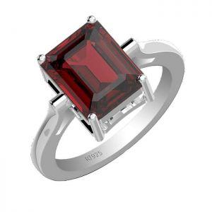 4.30ctw Genuine Garnet Solid 925 Sterling Silver Gemstone Ring (SJR10125)