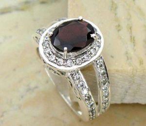 1.40ctw Genuine Garnet Solid 925 Sterling Silver Gemstone Ring (SJR10135)
