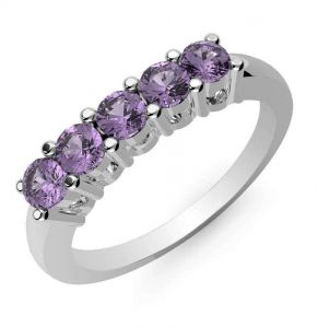 0.75ctw Genuine Amethyst Solid 925 Sterling Silver Gemstone Ring (SJR10136)
