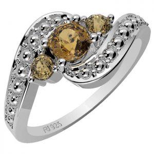 0.70ctw Genuine Citrine Solid 925 Sterling Silver Gemstone Ring (SJR10137)