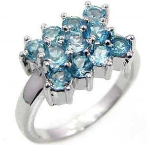 1.65ctw Genuine Sky Blue Topaz Solid 925 Sterling Silver Gemstone Ring (SJR10142)