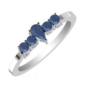 0.75ctw Genuine Sapphire Solid 925 Sterling Silver Gemstone Ring (SJR10143)