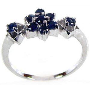 0.45ctw Genuine Sapphire Solid 925 Sterling Silver Gemstone Ring (SJR10146)