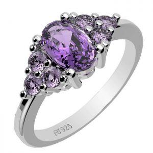 2.30ctw Genuine Amethyst Solid 925 Sterling Silver Gemstone Ring (SJR10147)