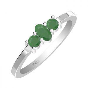 0.65ctw Genuine Emerald Solid 925 Sterling Silver Gemstone Ring (SJR10148)