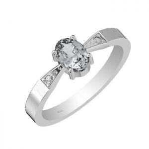 0.90ctw Genuine Aquamarine Solid 925 Sterling Silver Gemstone Ring (SJR10158)