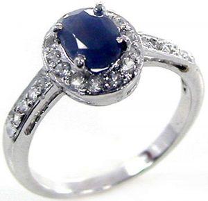 1.40ctw Genuine Sapphire Solid 925 Sterling Silver Gemstone Ring (SJR10159)