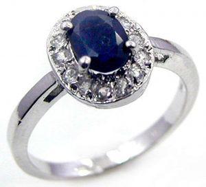 1.40ctw Genuine Sapphire Solid 925 Sterling Silver Gemstone Ring (SJR10160)