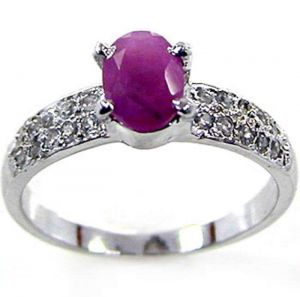 0.90ctw Genuine Ruby Solid 925 Sterling Silver Gemstone Ring (SJR10161)