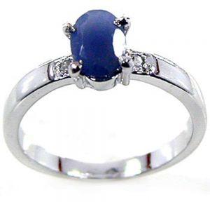 0.90ctw Genuine Sapphire Solid 925 Sterling Silver Gemstone Ring (SJR10164)