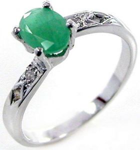 0.90ctw Genuine Emerald Solid 925 Sterling Silver Gemstone Ring (SJR10165)