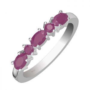 1.35ctw Genuine Ruby Solid 925 Sterling Silver Gemstone Ring (SJR10166)