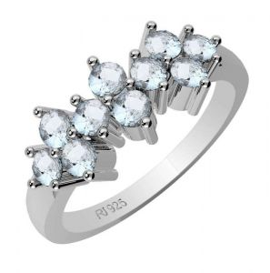 1.00ctw Genuine Aquamarine Solid 925 Sterling Silver Gemstone Ring (SJR10167)