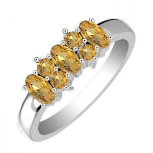 1.45ctw Genuine Citrine Solid 925 Sterling Silver Gemstone Ring (SJR10168)