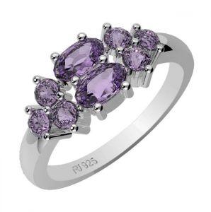 1.30ctw Genuine Amethyst Solid 925 Sterling Silver Gemstone Ring (SJR10169)