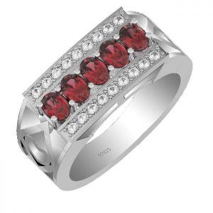 1.50ctw Genuine Garnet Solid 925 Sterling Silver Gemstone Ring (SJR10176)