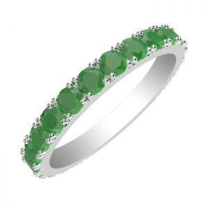 2.30ctw Genuine Emerald Solid 925 Sterling Silver Gemstone Ring (SJR10177)