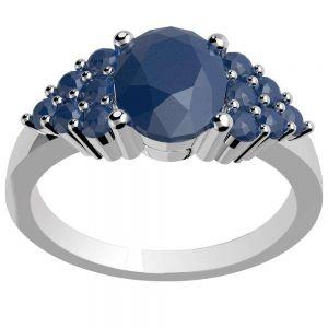 0.90ctw Genuine Sapphire Solid 925 Sterling Silver Gemstone Ring (SJR10179)