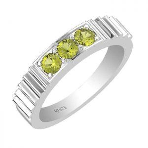 0.45ctw Genuine Peridot Solid 925 Sterling Silver Gemstone Ring (SJR10180)