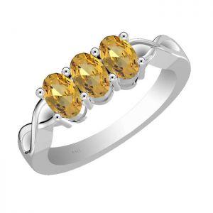 1.65ctw Genuine Citrine Solid 925 Sterling Silver Gemstone Ring (SJR10181)