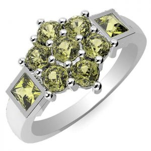 1.55ctw Genuine Peridot Solid 925 Sterling Silver Gemstone Ring (SJR10183)