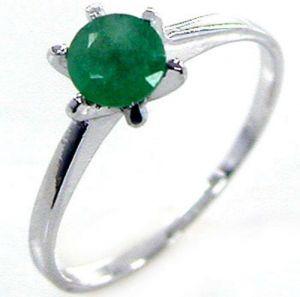 1.00ctw Genuine Emerald Solid 925 Sterling Silver Gemstone Ring (SJR10191)