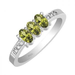 1.05ctw Genuine Peridot Solid 925 Sterling Silver Gemstone Ring (SJR10193)