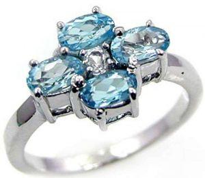 1.45ctw Genuine Swiss Blue Topaz Solid 925 Sterling Silver Gemstone Ring (SJR10203)