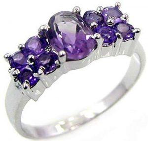 1.70ctw Genuine Amethyst Solid 925 Sterling Silver Gemstone Ring (SJR10205)