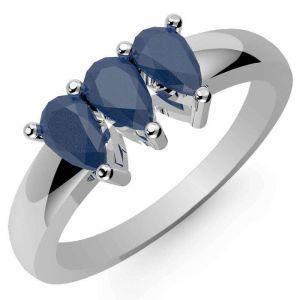 1.05ctw Genuine Sapphire Solid 925 Sterling Silver Gemstone Ring (SJR10206)