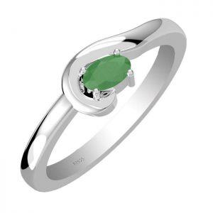 0.55ctw Genuine Emerald Solid 925 Sterling Silver Gemstone Ring (SJR10207)