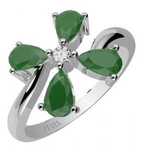 1.40ctw Genuine Emerald Solid 925 Sterling Silver Gemstone Ring (SJR10209)