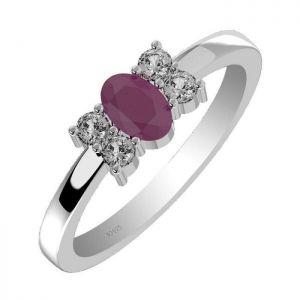 0.35ctw Genuine Ruby Solid 925 Sterling Silver Gemstone Ring (SJR10211)