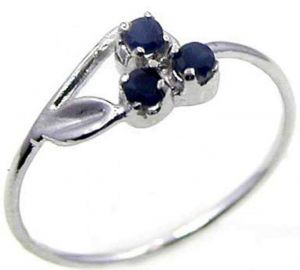 0.15ctw Genuine Sapphire Solid 925 Sterling Silver Gemstone Ring (SJR10212)