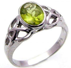 1.40ctw Genuine Peridot Solid 925 Sterling Silver Gemstone Ring (SJR10216)