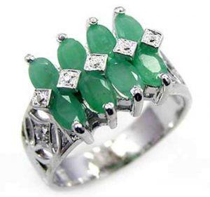 2.40ctw Genuine Emerald Solid 925 Sterling Silver Gemstone Ring (SJR10222)