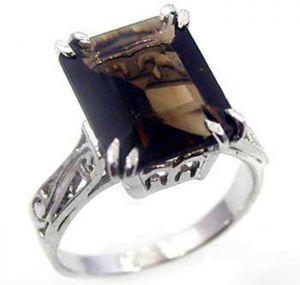 4.30ctw Genuine Smoky Quartz Solid 925 Sterling Silver Gemstone Ring (SJR10225)