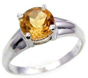 1.35ctw Genuine Citrine Solid 925 Sterling Silver Gemstone Ring (SJR10226)