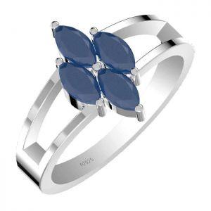 1.40ctw Genuine Sapphire Solid 925 Sterling Silver Gemstone Ring (SJR10231)