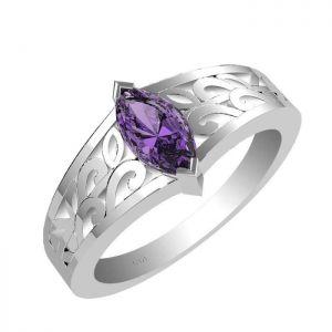 0.65ctw Genuine Amethyst Solid 925 Sterling Silver Gemstone Ring (SJR10237)