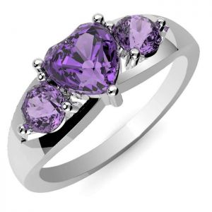 1.80ctw Genuine Amethyst Solid 925 Sterling Silver Gemstone Ring (SJR10243)