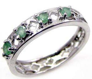 0.60ctw Genuine Emerald Solid 925 Sterling Silver Gemstone Ring (SJR10245)