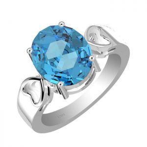 5.00ctw Genuine Swiss Blue Topaz Solid 925 Sterling Silver Gemstone Ring (SJR10246)